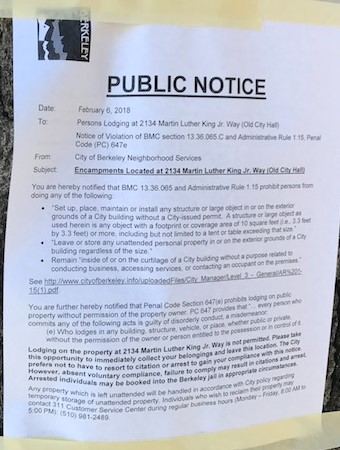 City Hall FTC Eviction notice Berkeley City hall campers Feb 6 2018