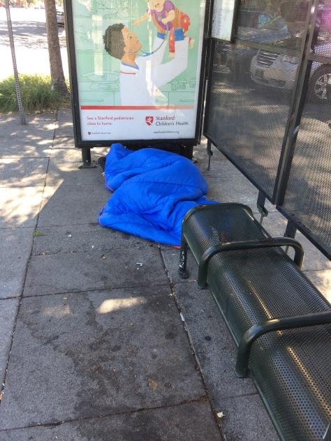 Homeless at Bus Stop Oct 5 2018