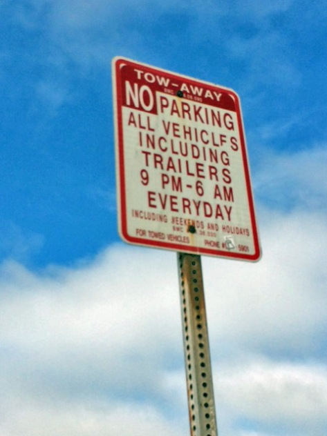 Frontage road parking restrictions photoshopped