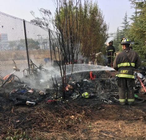 Homeless camp fire Nov 2018