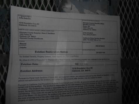 Kaipaka eviction restoration notice up close