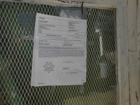 Kaipaka sheriff notice on door