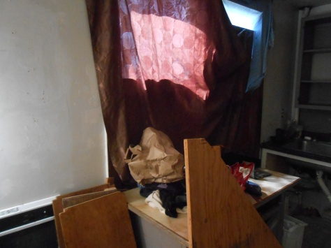 Kaipaka windows covered with fabric
