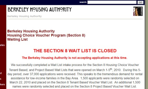 Section 8 Wait list Berkeley