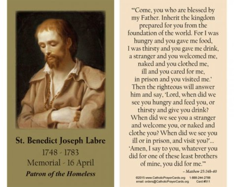 Benedict 2 Joseph Labre Patron Saint of Homeless