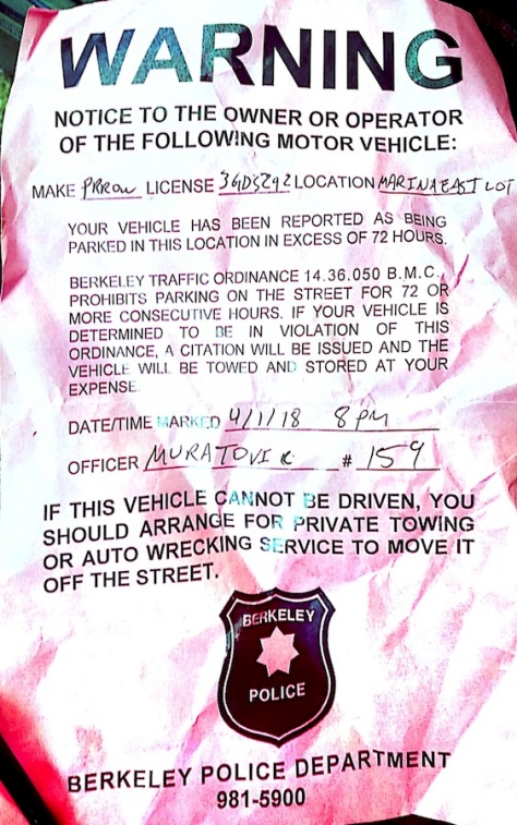 Marina Blvd notice to RV dweller