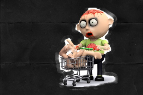 Shopping cart zombie black background