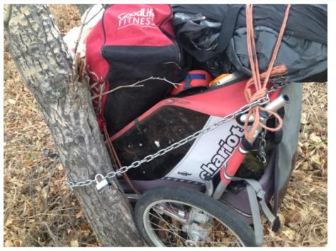 Homeless camp Calgary stolen bike (2)