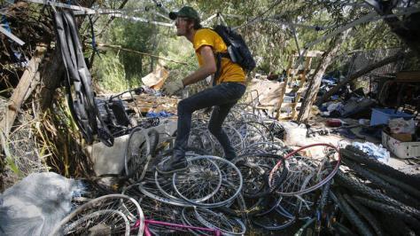 Homeless camp San Diego bikes