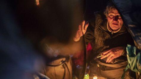 homeless man in tent portland